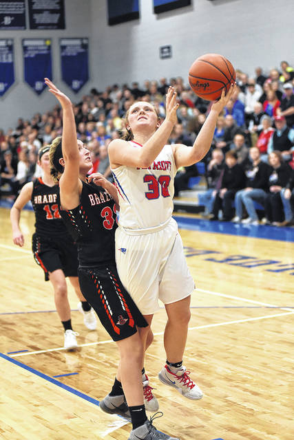 Tri-Village junior Lissa Siler scored a game-high 28 points in leading the Patriots to a 55-49 overtime win against Bradford in a Division IV sectional final on Wednesday at Brookville.