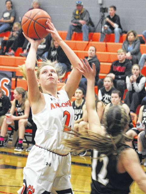 Ansonia's Mariah Troutwine goes in for a basket during a non-league game with Parkway on Saturday. The Panthers won the game, 55-45.