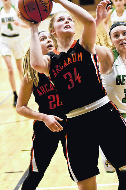 Arcanum freshman Taylor Gray had a game-high 15 points in leading the Trojans to a Division III sectional semifinal win over Bethel on Tuesday. Arcanum won the game, 49-35.