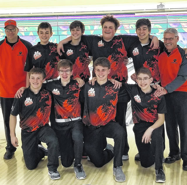The Versailles boys bowling team qualified for the Division II state tournament last week during competition at the district tournament. Pictured back row (left to right) Coach Mumaw, Justin Heitkamp, Tyler Gehret, Quayd Pearson, Drew Cotner, Coach Ward; Front row (left to right) Derek Morris, Matthew Francis, Landon Henry, Jay Mumaw.