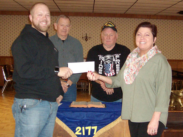 Greenville Fraternal Order of Eagles presented a donation check to the Annie Oakley Festival.