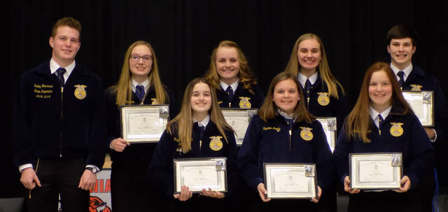 Ansonia FFA members received Chapter Degrees. Pictured are (back row, l-r) Ohio State FFA Reporter Bailey Eberhart, Carrie Rhoades, Kenzie Singer, Kylee Winner, (bottom row, l-r) Isaac Barga, Kaydee Campbell, Deanna Moody and Rebecca Clark.