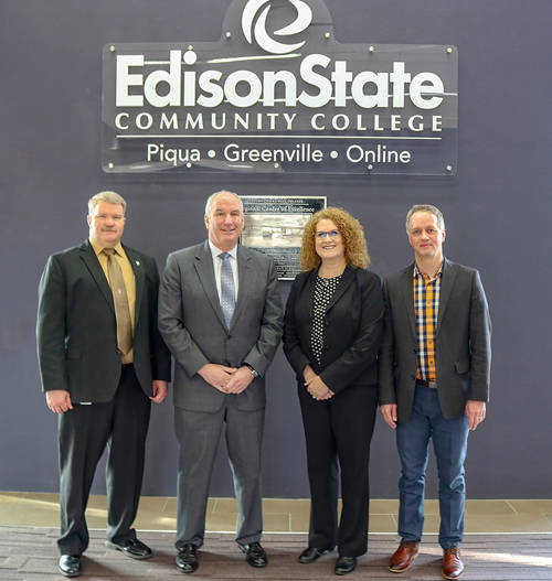 Edison State Community College and Hobart Service have partnered to create an Associate of Technical Study degree with a major in either business or industrial management. Pictured (l-r) are Tony Human, dean of professional and technical programs at Edison State; Eric Reisner, vice president and general manager North America at Hobart Service; Gail Sease, manager of training and technical information at Hobart Service; and Chris Spradlin, provost at Edison State.
