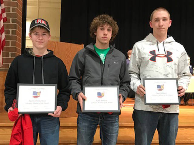 Versailles FFA February FFA Members of the Month included (l-r) Austin Timmerman, Kyle Pothast and Isaac Gilmore.