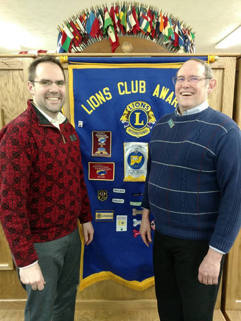 Richmond Civic Theatre President Jason Blunk and Union City Lion Sam Davenport, program chair, are pictured at the Union City Lions meeting on Tuesday.
