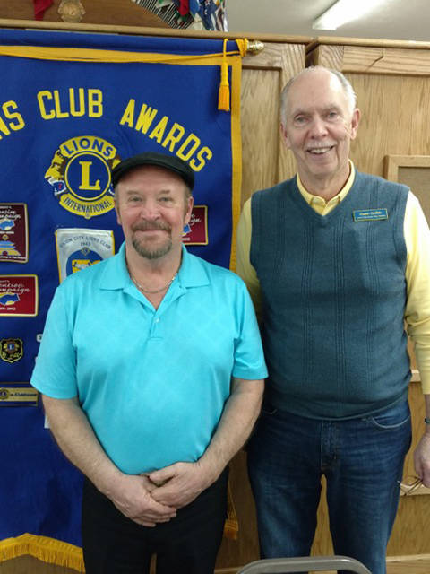 Jan Aukerman and Lion Owen Griffith are pictured at Tuesday's Lions Club meeting.