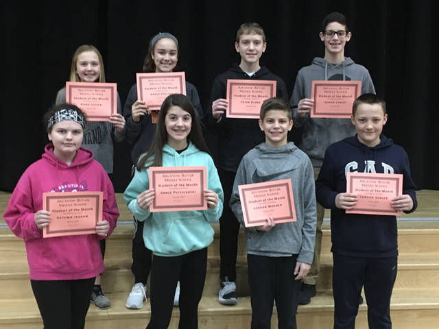 Arcanum-Butler Middle School announced its January Students of the Month. Pictured are (front row) Autumn Ingram, Grace Psczulkoski, Landon Wagner, Landon Subler, (back row) Rylee Leeper, Grace Collins, Caleb Burke and Jaxson Christ.