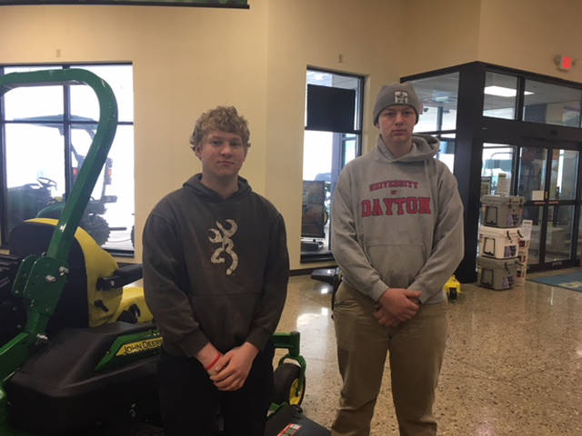 Versailles FFA members Jon Gehret (left) and Jacob Wuebker (right) competed in the Ag Power Diagnostics contest and placed third overall as a team.