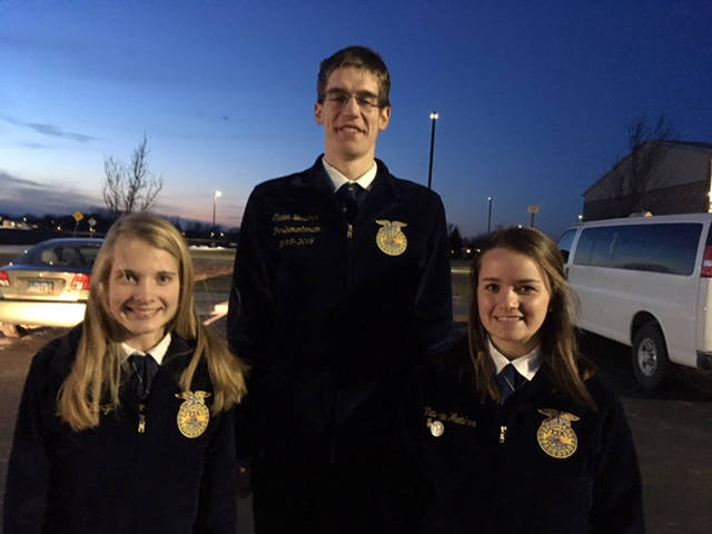 Versailles FFA members participated in the District 5 Public Speaking Contest. Participants included (l-r) Delaney Barga, Caden Buschur and Victoria Wuebker.