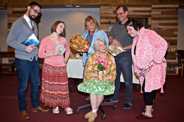 "Oakland Church of the Brethren will present ""Just a Little Crazy"" by Renee Rebman as its 2019 Dinner Theater production. Pictured (l-r) are cast members Holden Klingler, Alison Klingler, Charlene Godown, Betty Byrd (seated), Doug Warvel and Chelsea Fields."