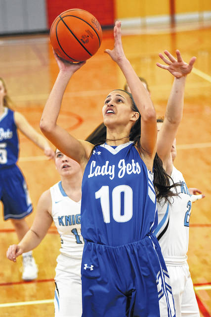 Franklin-Monroe junior Corina Conley led the Lady Jets with 18 points in a Division IV district championship game with Legacy Christian on Saturday at Troy. Legacy Christian won the game, 49-34.