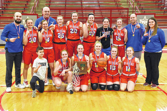 The Tri-Village girls basketball team won its third consecutive Division IV district championship on Saturday with a 54-35 victory over Cincinnati Country Day at Troy.