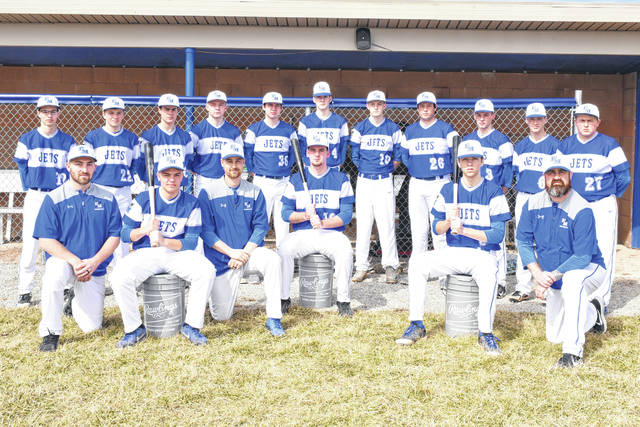 Franklin Monroe Jets 2019 varsity baseball team and coaches.