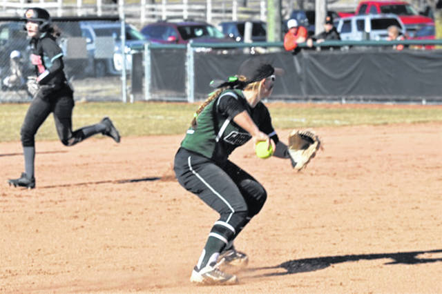 Morgan Gilbert gets the third out in the top of the eighth to keep West Liberty-Salem off the board in 2-1 Lady Wave opening day win.
