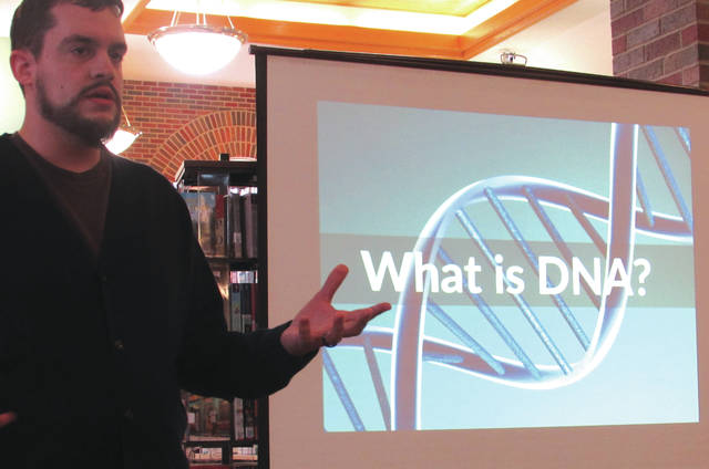 The New Madison Public Library hosted a presentation on genetic genealogy Friday evening. Kellen Freeman, a technology training specialist at the Delaware County District Library, presented.