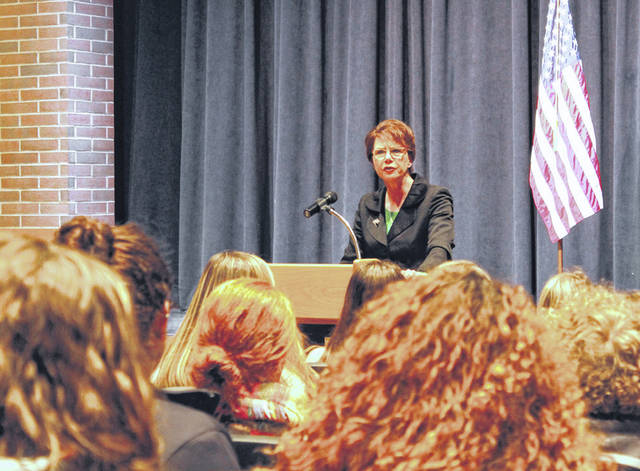Ohio Supreme Court Justice Sharon L. Kennedy visited with Versailles High School juniors Friday, explaining the role of the court within the framework of government and describing her own path to the court.