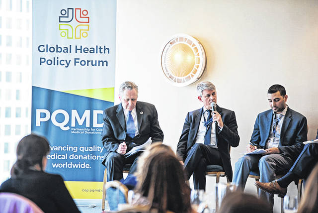 From left, Michael Bzdak, global director, global community impact, Johnson & Johnson; Joël Calmet, senior director communication, Sanofi-Pasteur; Sonak Pastakia, Jefferson Science Fellow, USAID discuss the PQMD initiative at the Global Health Policy Forum in Washington, D.C.