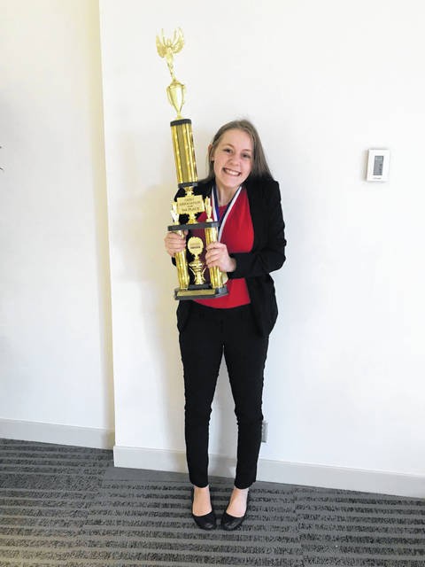 Greenville High School senior Rachel Unger recently received a third place trophy at state competition, earning her a trip to the Business Professionals of America National Conference in Anaheim, California.
