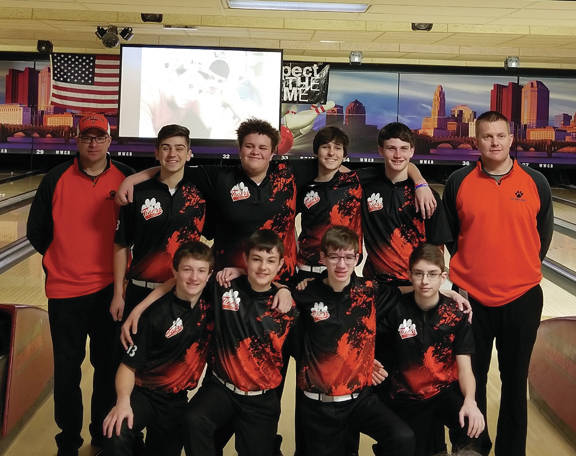 Shown are (back row) Coach Mumaw, Drew Cotner, Quayd Pearson, Tyler Gehret, Landon Henry, Coach Philpot, (front row) Derek Morris, Justin Heitkamp, Matthew Francis, and Jay Mumaw. (Courtesy photo)