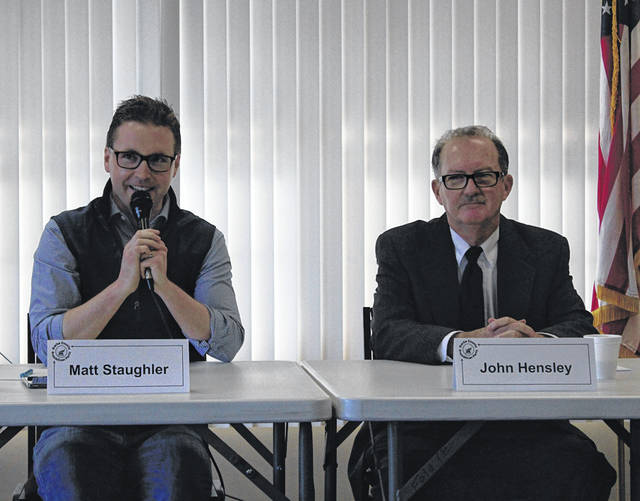 Greenville City Council candidates Matt Staugler (left) and John Hensley (right) answered questions during a GOP candidate's forum held Saturday at Brethren Retirement Community.