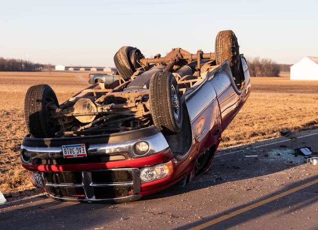 According to the Darke County Sheriff's Department, a white Chevy S-10 pulled into the path of oncoming traffic and caused a collision with a red Dodge Ram Heavy Duty 2500.