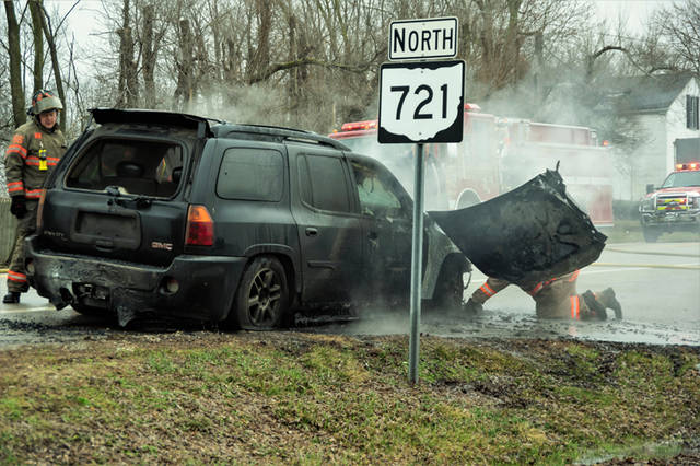 According to the Bradford Fire Department, a black GMC Envoy was being towed by an unknown salvage company when the SUV caught fire. The tow vehicle reportedly left the scene of the fire after disconnecting from the burning vehicle.