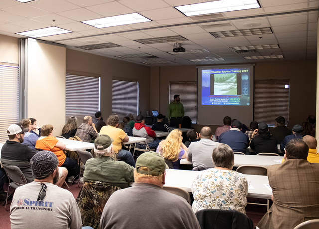 With nearly 50 people in attendance, meteorologist Kevin Kacan of the National Weather Service instructed first responders, amateur radio operators and weather enthusiasts alike on the methods and safety of severe weather spotting and reporting.