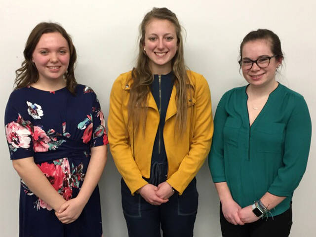 Greenville Rotary Club Four-Way Speech Competition contestants (l-r) included Madison Werner, Kelsie Ruble and Sarah Abell.