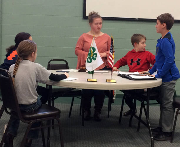 The Ansonia Animal 4-H Club officers host a meeting on Sunday.