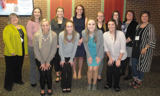 The Greenville Business & Professional Women's Club held a scholarship competition. Pictured are (front row) Ashley Jolley, Elizabeth Watren, Jessica Meyer, Jenna Beatty, (back row) BPW member Brenda Miller, Macey Hartman, Kirsten Zink, Julia Mellot, Kiley Grilliot, Bridgett Filbrun, BPW member Vicki Cost and BPW member Sue Huston. Not pictured are Nicole Brocious, Rachel Unger, Rachel Lyons and Caitlyn Luthman.