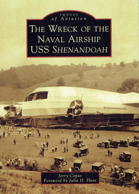 "Pictured is the book cover for ""The Wreck of the Naval Airship USS Shenandoah"" by Jerry Copas."