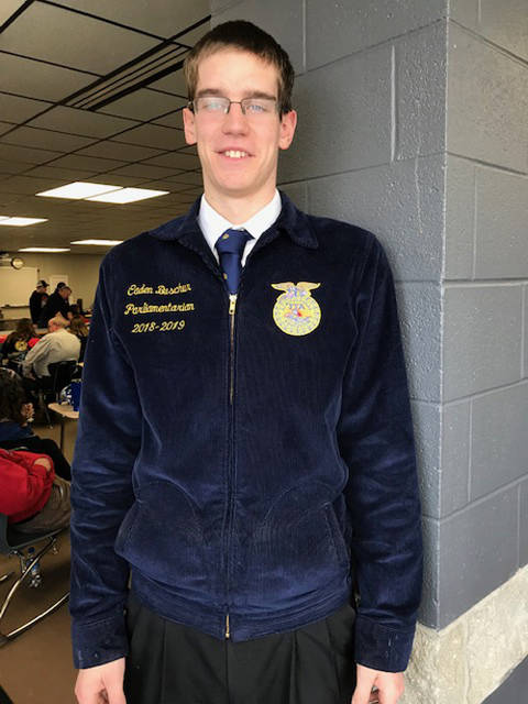 Caden Buschur placed third overall in the state FFA Advanced Prepared Public Speaking Contest on March 2.