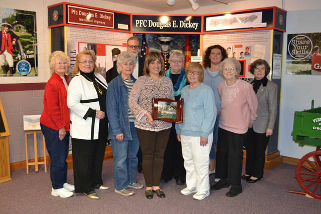 Members of the Fort GreeneVille Daughters of the American Revolution are pictured with Clay Johnson.