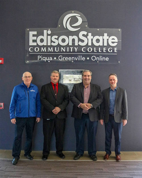 Pictured (l-r) are Steven Sykes, Edison State professor of manufacturing and industrial management; Tony Human, dean of professional and technical programs; Ben Brigham, Nidec Minster talent development manager; and Chris Spradlin, Edison State provost.