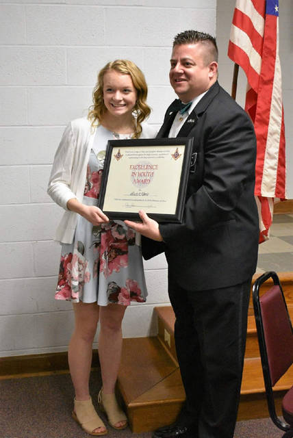 Tri-Village sophomore Lucie Morris received the Excellence in Youth Award from the Third Masonic District in Ohio.