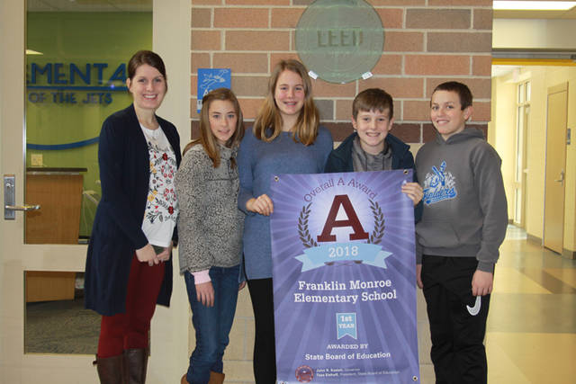 The Franklin Monroe Elementary School was granted an Overall A Award from the Ohio State Board of Education for 2018. As a recipient of the Overall A Award, the Franklin Monroe Elementary School's report card reflects the outstanding high academic performance of all students. Pictured (l-r) are Principal Megan Linder, Kori Garber, Maura Yount, Parker Patrick and Brady Wackler.