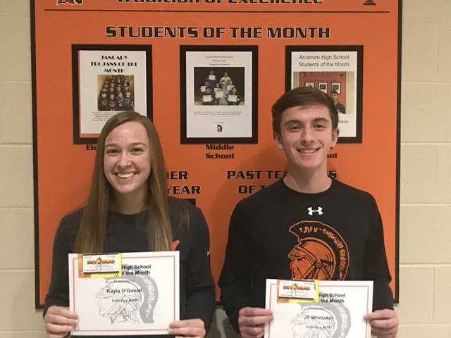 Kayla O'Daniel and JT Whittaker were named Arcanum High School's Students of the Month for February.