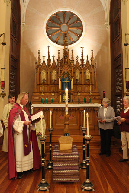 Rev. John Tonkin, Maria Stein Shrine rector and pastor of St. Christopher Church in Vandalia, led the Shrine's Shrove Tuesday ceremony.