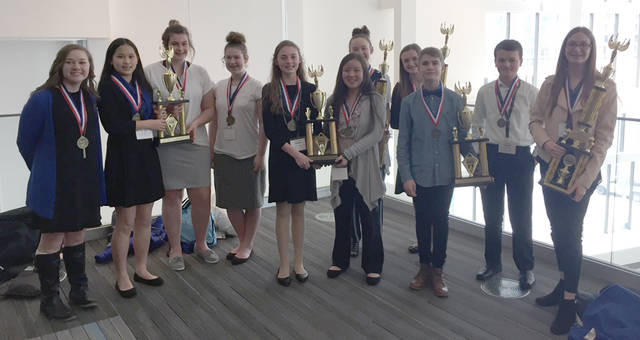 Franklin Monroe Middle School-MVCTC students traveled to Columbus to participate in Business Professionals of America Middle Level State Competitive Events. Pictured are (front row, l-r) Kalynn Huecker, Sherry Dong, Paige Luchini, Peyton Estes, Keihl Johnson, Emma Miller, Ty Furlong, Quinter Garber, Savannah Crist, (back row, l-r) Elli Earwood and Joanie Hall.