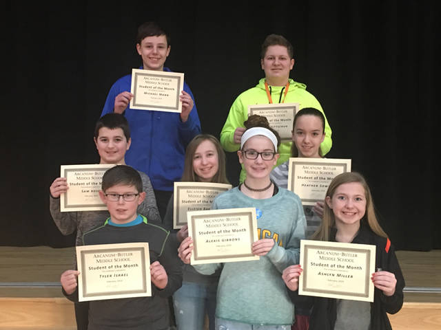 Arcanum-Butler Middle School announced its February Students of the Month. Pictured are (front row) Ty Israel, Alexis Gibbons, Ashlyn Miller, (middle row) Sam Rose, Elleigh Baker, Heather Sowers, (back row) Michael Mann and John Trittschuh.
