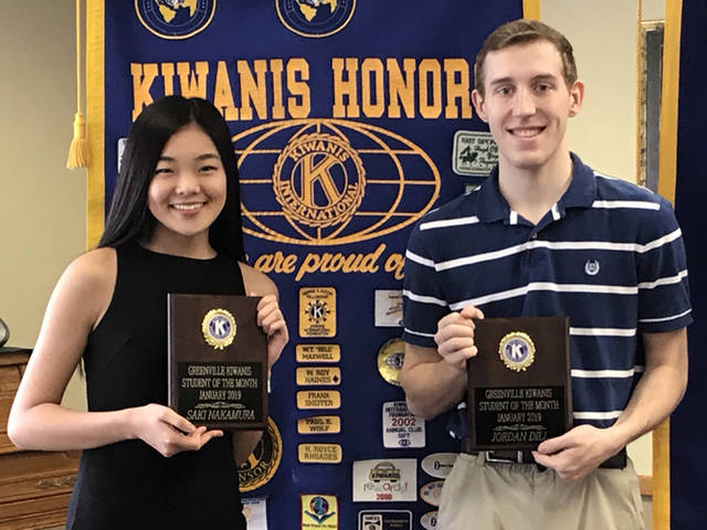 Greenville Kiwanis Club recognized Saki Nakamura (left) and Jordan Dill (right) as its students of the month for January 2019.
