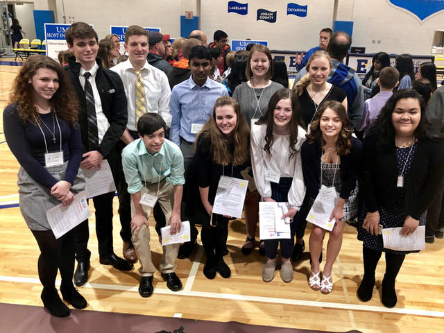 Students from Lehman Catholic High School participated in the Ohio Academy of Science Upper Miami Valley District Science Day. Pictured are (back row, l-r) Jacquie Schemmel, Alex Gleason, Cole Gilardi, Joshua George, Ann Deafenbaugh, Angela Brunner, (front row, l-r) Michael O'Leary, Annamarie Stiver, Meghan Chamberlin, Molly Greene and Lexy Casillas. Not pictured is David Rossman.​