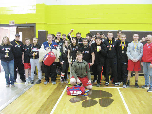 The Tri-Village Powerlifting Team traveled to Kenton Ridge to compete on March 2. (Courtesy photo)