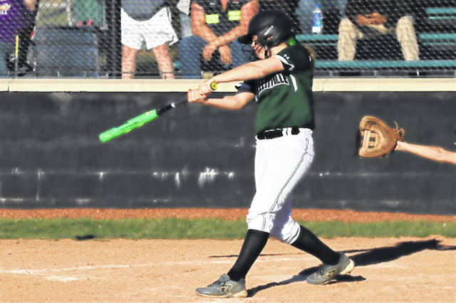 Chloe Sowry drives in a run with one of her three hits to go 3-3 on the day with 2-RBIs for the Lady Wave in a run rule win over Vandalia-Butler.