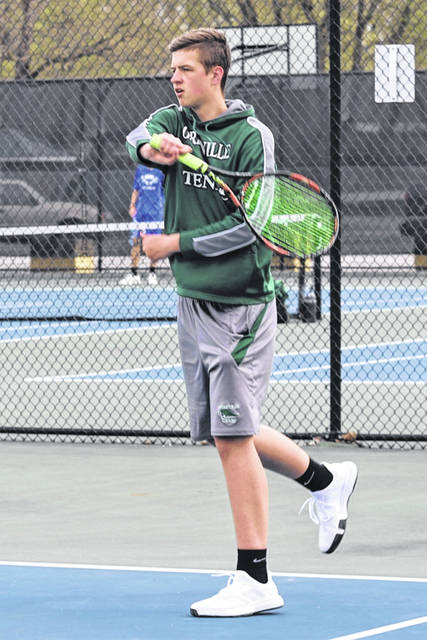 Greenville's Josh Galloway makes a return for the Wave's first doubles team win over Brookville.