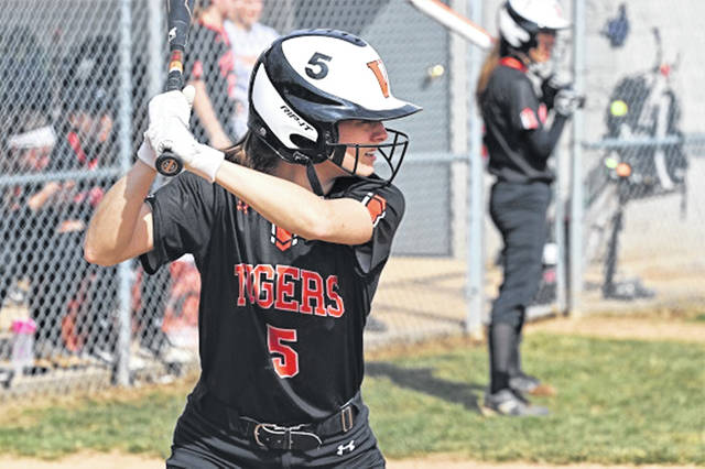 Caitlyn Luthman accounts for one of two seventh inning Versailles Lady Tigers home runs against Fort Loramie.