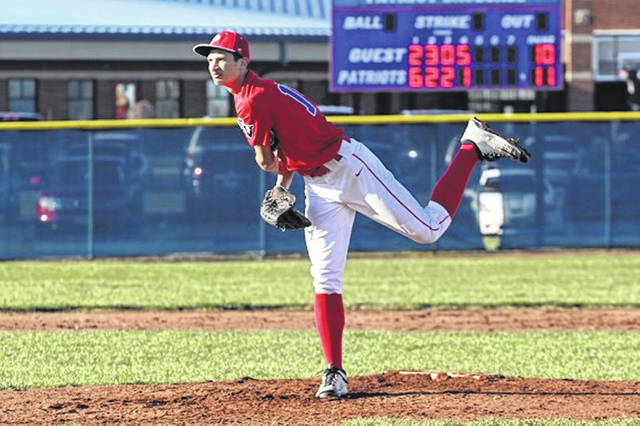 Matthew Holzapfel pitches for Tri-Village in Monday night win over Ansonia.