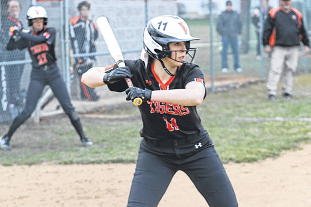 Hannah Barga takes ball four to give the Lady Tigers a walk-off win over Northmont.