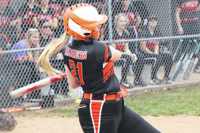 Bianca Keener rips one of her three hits for the Lady Railroaders in win over Fort Loramie.