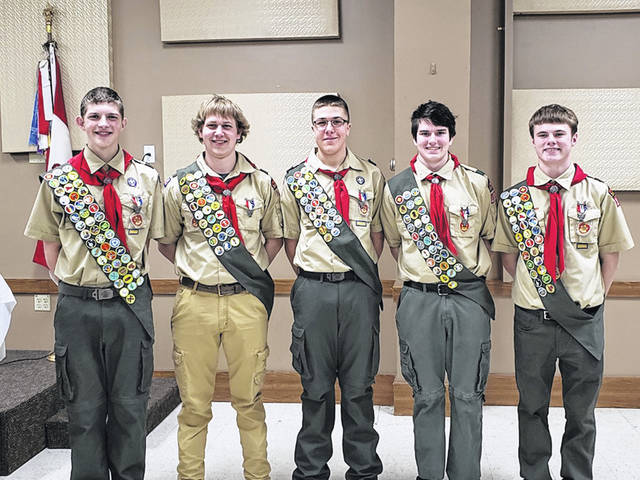 Izac Rauh and Cameron Franck were the two Darke County boys who earned Eagle Scout ranking recently in St. Henry.